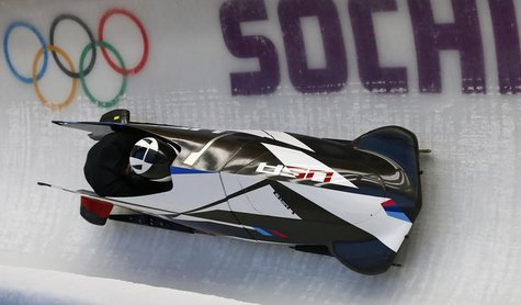 Two-man bobsleigh pilot Cory Butner of the U.S. speeds down the track during a training session of the Sochi 2014 Winter Olympic Games at th
