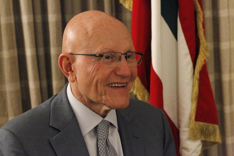 Newly elected Lebanese Prime Minister Tammam Salam speaks during an interview with Reuters at his home in Beirut April 7, 2013. REUTERS/ Jam