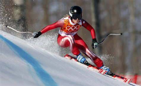 Switzerland's Lara Gut skis during the women's alpine skiing Super G competition at the 2014 Sochi Winter Olympics at the Rosa Khutor Alpine