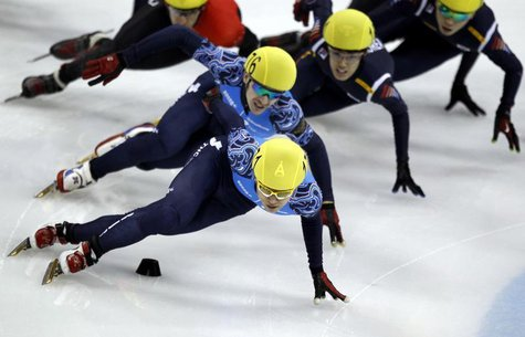 Viktor Ahn (front) of Russia competes in the men's 1500m final race during the ISU Short Track World Cup speed skating competition in Shangh