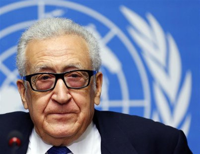 U.N.-Arab League envoy for Syria Lakhdar Brahimi addresses the media after a meeting at the Geneva Conference on Syria at the United Nations