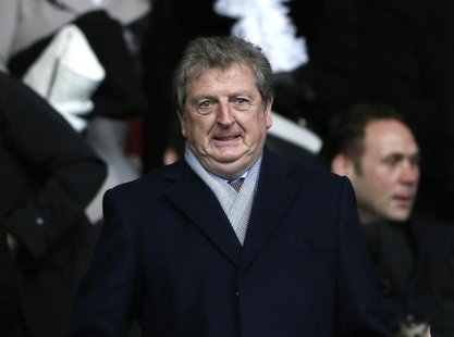 England manager Roy Hodgson prepares to watch Chelsea play Southampton in their English Premier League soccer match at St Mary's stadium in