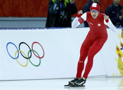 Zbigniew Brodka of Poland reacts after competing in the men's 1,500 metres speed skating race during the 2014 Sochi Winter Olympics, Februar