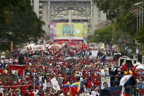 Supporters of Venezuelan President Nicolas Maduro march in support of the government and to call for peace after the recent deadly violence