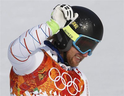 Second-placed Andrew Weibrecht of the U.S. reacts in the finish area after competing in the men's alpine skiing Super-G competition during t