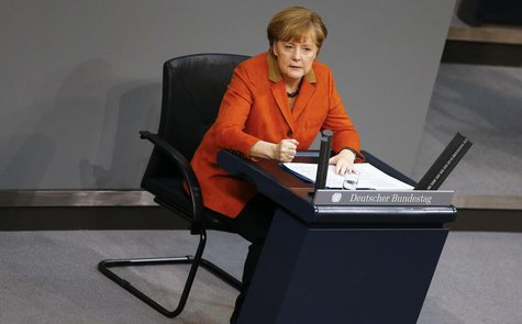 German Chancellor Angela Merkel makes a point during her speech at the German lower house of parliament Bundestag in Berlin January 29, 2014