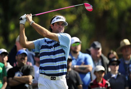 February 16, 2014; Pacific Palisades, CA, USA; Bubba Watson hits from the second hole tee during the final round of the Northern Trust Open