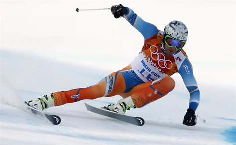 Norway's Aksel Lund Svindal skis during the men's alpine skiing Super-G competition at the 2014 Sochi Winter Olympics at the Rosa Khutor Alp