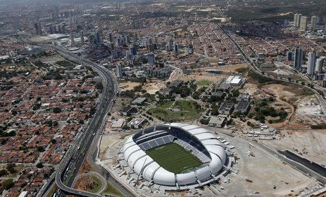 An aerial view shows the Arena das Dunas stadium, which will host matches for the 2014 soccer World Cup, in Natal January 22, 2014. REUTERS/
