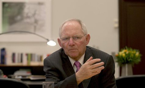 German Finance Minister Wolfgang Schaeuble speaks during an interview with Reuters at the Finance Ministry in Berlin, February 10, 2014. REU