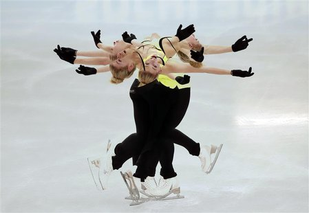 Gracie Gold of the U.S. practises her routine during a figure skating training session at the Iceberg Skating Palace training arena during t
