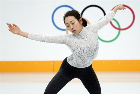 Mao Asada of Japan practises her routine during a figure skating training session at the Iceberg Skating Palace training arena during the 20