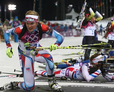 Czech Republic's Gabriela Soukalova leaves the shooting range during the women's biathlon 12.5 km mass start event at the 2014 Sochi Winter