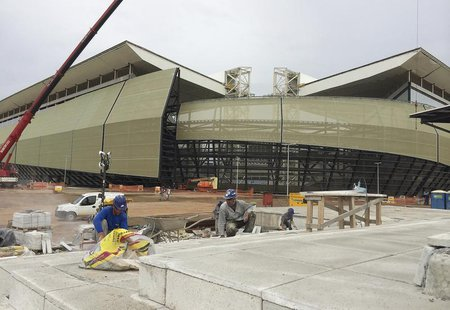 A view of the construction of the Arena Pantanal soccer stadium, which will host several matches of the 2014 World Cup, in Cuiaba, February