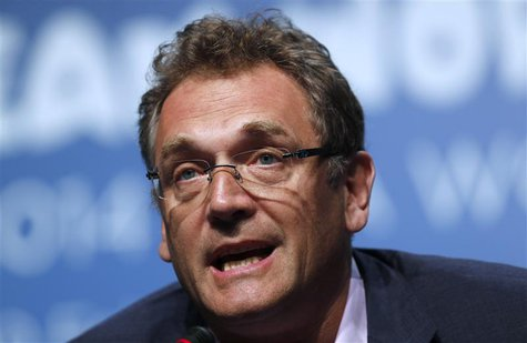 FIFA General Secretary Jerome Valcke speaks during an announcement on the status of Curitiba as a host city for the 2014 World Cup, in Flori