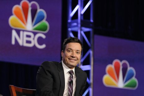 "Jimmy Fallon, host of ""The Tonight Show Starring Jimmy Fallon"", takes part in a panel discussion at the NBC portion of the 2014 Winter Press"