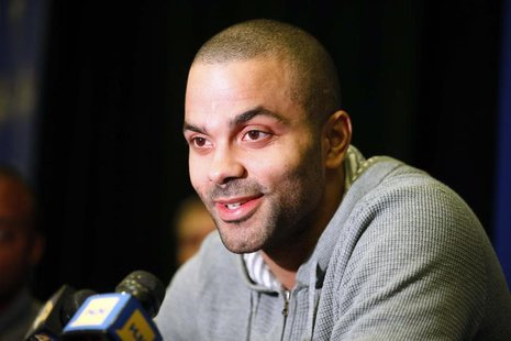 Feb 14, 2014; New Orleans, LA, USA; Western Conference guard Tony Parker during the 2014 NBA All Star game Player Press Conferences at New O