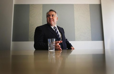 Australia's opposition treasury spokesman Joe Hockey answers questions during a Reuters' interview at his electorate office in North Sydney,