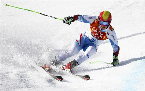 Austria's Marcel Hirscher skis during the second run of the men's alpine skiing giant slalom event at the 2014 Sochi Winter Olympics at the