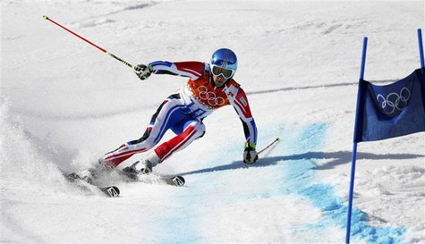 France's Steve Missillier skis during the second run of the men's alpine skiing giant slalom event at the 2014 Sochi Winter Olympics at the