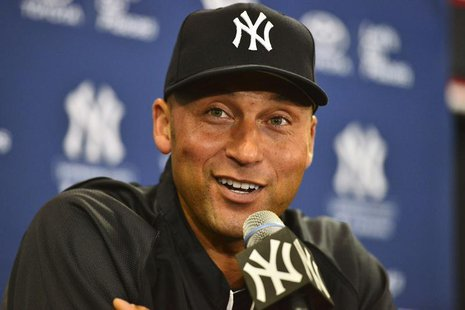 Feb 19, 2014; Tampa, FL, USA; New York Yankees infielder Derek Jeter (2) speaks to the media during an media availability at George M. Stein