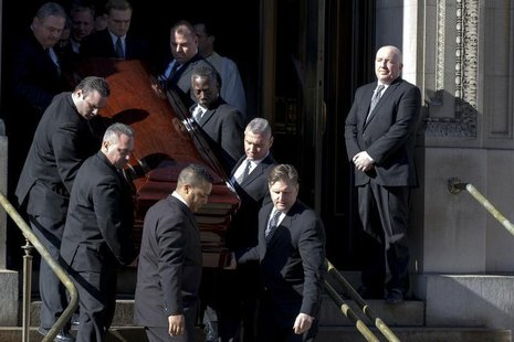 Actor Phillip Seymour Hoffman's casket is carried out following the funeral in the Manhattan borough of New York, February 7, 2014. REUTERS/
