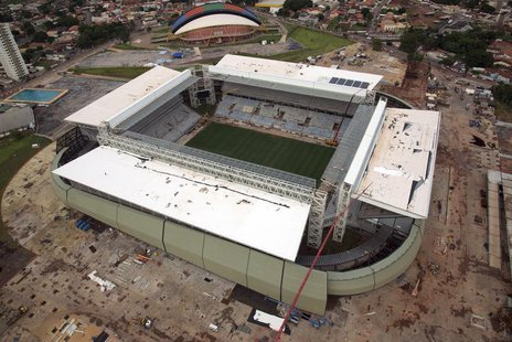 An aerial view of the construction of the Arena Pantanal soccer stadium, which will host several matches of the 2014 World Cup, in Cuiaba, F