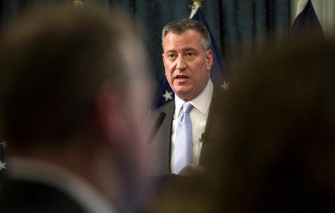 New York Mayor Bill de Blasio delivers the budget address at City Hall in New York February 12, 2014. REUTERS/Craig Ruttle/Pool