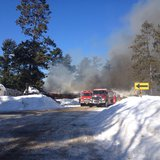 Firefighters battle a fire at the Rustic Resort and Banquet Hall in Shawano County, Wednesday, Feb. 19, 2014. (Photo from: FOX 11)