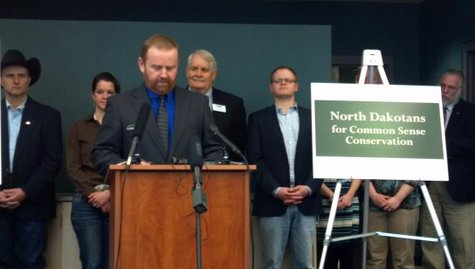 North Dakotans for Common Sense Conservation hold news conference in Bismarck.   (Photo courtesy Dave Thompson, KCND)