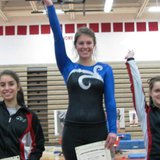 Coldwater gymnasts Amanda Daoud (l) and Kala Sperbeck (r) earn All Conference honors at their league meet February 15, 2014