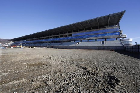 The main tribune and track at the Sochi International Street Circuit under construction for the 2014 Russian Grand Prix are seen in Sochi du