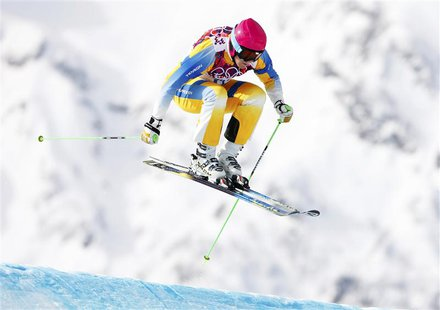 Sweden's Victor Oehling-Norberg competes during the men's freestyle skiing skicross qualification round at the 2014 Sochi Winter Olympic Gam