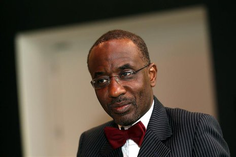 Nigeria's Central Bank Governor Lamido Sanusi attends an interview with Reuters at the World Islamic Economic Forum in London in this Octobe