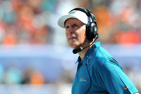 Oct 20, 2013; Miami Gardens, FL, Miami Dolphins head coach Joe Philbin looks on during the first half agains the Buffalo Bills at Sun Life S