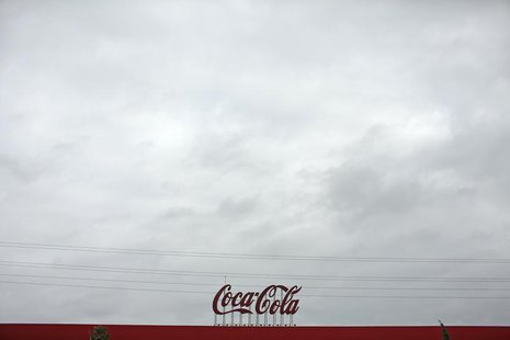 Coca-Cola signage is pictured at a bottling plant near the Andalusian capital of Seville, southern Spain February 6, 2014. REUTERS/Marcelo d