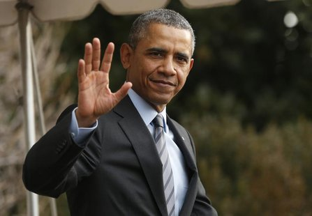U.S. President Barack Obama waves as he departs the White House in Washington February 19, 2014. REUTERS/Kevin Lamarque