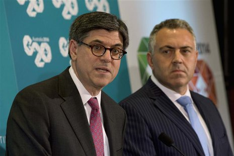 U.S. Treasury Secretary Jack Lew (L) participates in a joint news conference with Australian Treasurer Joe Hockey at the G20 Finance Ministe