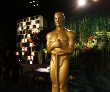 A large Oscar statue is seen in the Dolby Ballroom during the 86th Oscars Governors Ball press preview in Hollywood, California February 20,