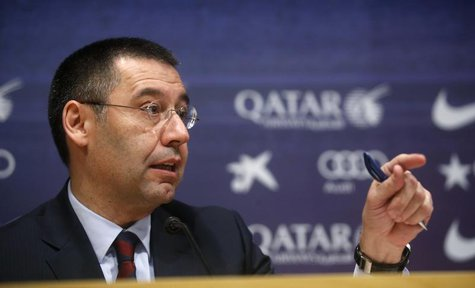 Barcelona's new president Josep Maria Bartomeu attends a news conference at Camp Nou stadium in Barcelona January 24, 2014. REUTERS/Albert G