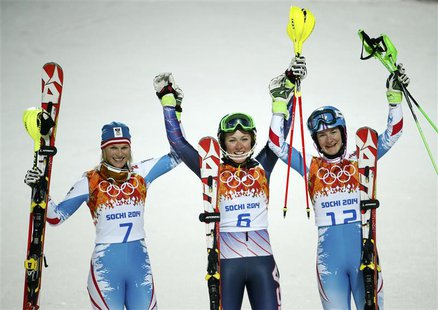 (L to R) Second-placed Marlies Schild of Austria, first-placed Mikaela Shiffrin of the U.S. and third-placed Kathrin Zettel of Austria pose