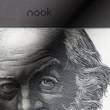 A portrait of Walt Whitman is shown on the home screen of a Nook reader from Barnes & Noble, which uses technology developed by E Ink Corpor