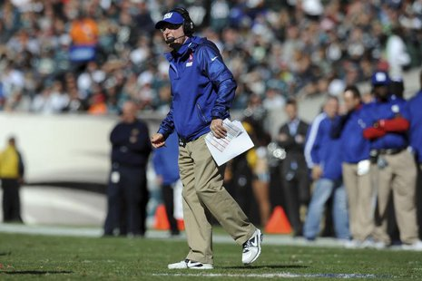 Oct 27, 2013; Philadelphia, PA, USA; New York Giants head coach Tom Coughlin looks on against the Philadelphia Eagles during the first half