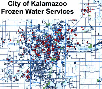 Red dots represent all the homes and businesses that currently have no water because their water service has frozen solid.