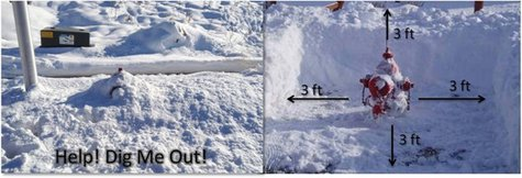 A before and after picture of a fire hydrant being cleared of snow.