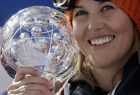Canada's Sarah Burke celebrates after winning the Ladies' halfpipe freestyle FIS World Cup Grand Finals 2008 in Chiesa Valmalenco March 12,