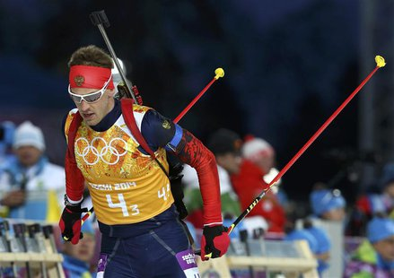 Russia's Dmitry Malyshko skis during the men's biathlon 4 x 7.5 km relay at the Sochi 2014 Winter Olympic Games in Rosa Khutor February 22,