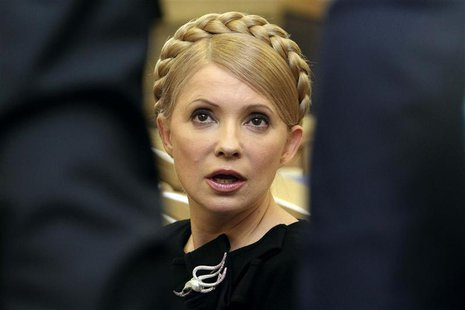 Then Ukrainian Prime Minister Yulia Tymoshenko speaks during a session of the Higher Administrative Court in central Kiev in this February 1