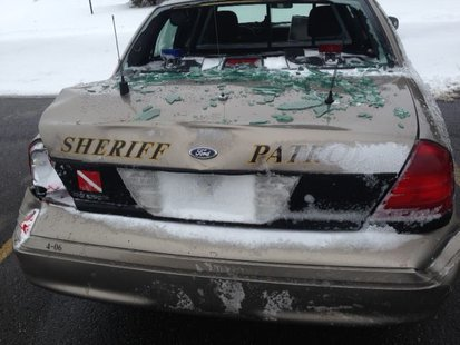 Allegan County Sheriff's vehicle damaged in crash Friday at 40th Street and 147th Avenue in Overisel Township. (From Allegan County Sheriff's Department)
