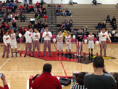 Coldwater High School's senior basketball players are recognized in-between games of their 2-21-2014 doubleheader against Battle Creek Central.